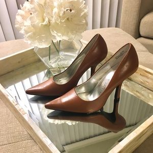 Leather Brown Camel Pumps Heels Chinese Laundry